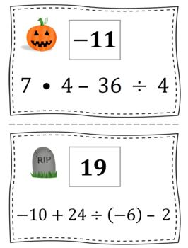 Halloween Order of Operations Scavenger Hunt by Middle