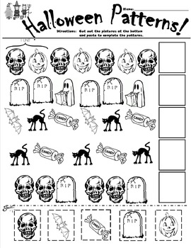 Halloween Patterns Cut and Paste Worksheet by Wesley