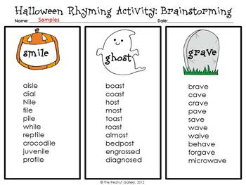 Halloween Poetry Rhyming A By The Peanut Gallery