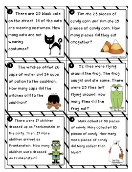 Halloween Word Problems using 2-Digit Addition and