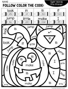 Halloween Sight Word Coloring with Pre-primer Words by