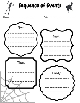 Halloween Theme Sequence of Events Worksheet by Emily