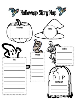 Halloween Themed Story Map for Story Elements by Kristen