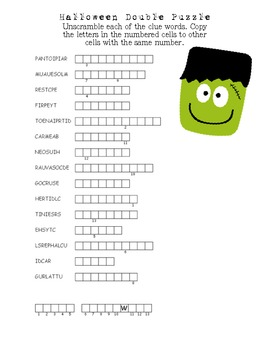 Halloween Vocabulary Packet for Middle/High School by