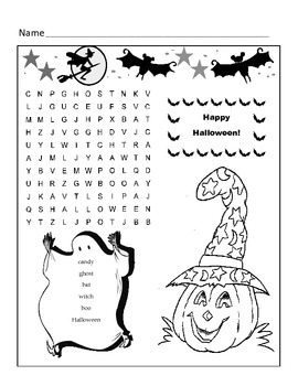 Halloween Word Search Puzzle / 1st Grade by Kelly Connors