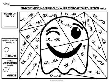Halloween Math 3rd grade {Color by number} by Satsumas and