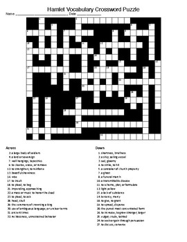 Hamlet Vocabulary Crossword Puzzle and KEY by Lonnie Jones