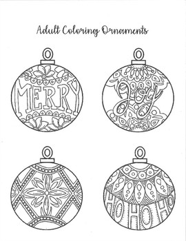 Hand Drawn Adult Coloring Christmas Ornaments by Katie Bug