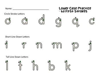 Handwriting Warm Up Worksheets Emphasizing Correct