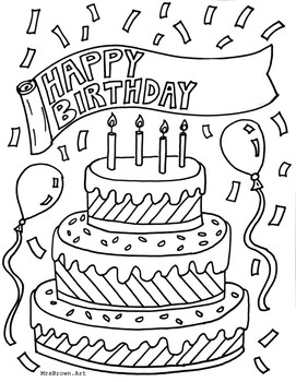Happy Birthday Coloring Sheet {MrsBrown.Art} by