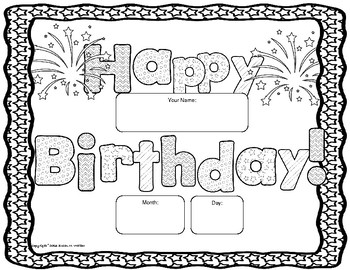 Happy Birthday Poster to Color with