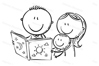 Happy family reading a book together by Optimistic Kids