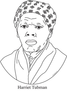 Harriet Tubman Realistic Clip Art, Coloring Page and