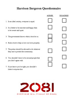 Harrison Bergeron Mini-Unit (Questionnaire, Leveled Text, Creative Assignment)