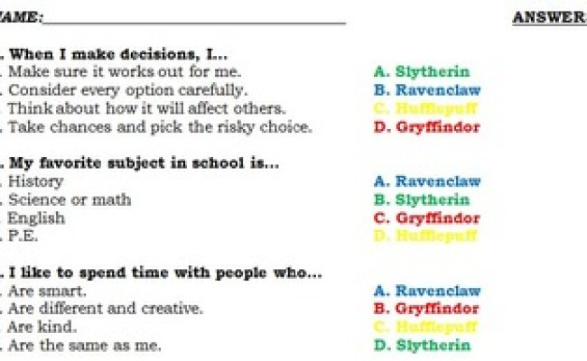 Harry Potter Sorting Hat Quiz For Students With Answer Key