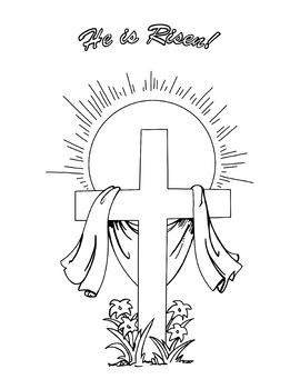 He is Risen! Easter Cross Coloring Page by Not Weird