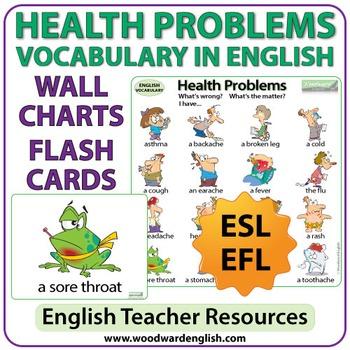 Health Problems English Vocabulary ESL Wall Charts