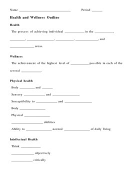 Health and Wellness Notes Outline Lesson Plan by Lisa
