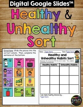 Healthy Habits and Unhealthy Habits Sort Worksheet