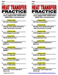 Heat Transfer Practice Worksheet by Science Teacher ...