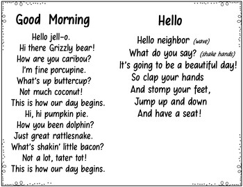 Hello Goodbye (5 Pocket Chart Poems and Songs) by Judy