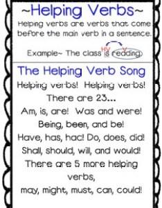 Helping verbs song poster anchor chart by first grade maestra trisha hyde also rh teacherspayteachers
