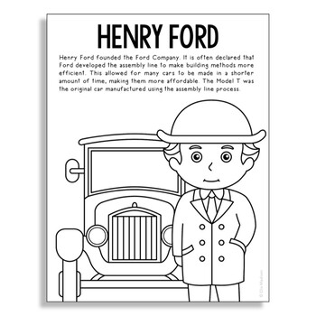 HENRY FORD Inventor Coloring Page Craft or Poster, STEM