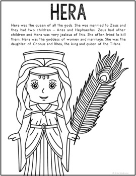 Hera, Greek Mythology Informational Text Coloring Page