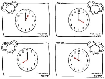 Hickory Dickory Dock Telling Time Task Cards, Scoot and