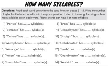 Hip Hop Decoding Multisyllabic Words Worksheets and
