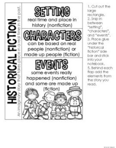 Historical fiction anchor chart  interactive notebook kit also by rh teacherspayteachers