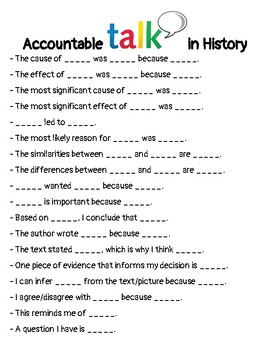 History Accountable Talk Sentence Starters / Sentence
