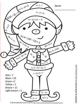 Holiday Color by Numbers Numerical Expressions by