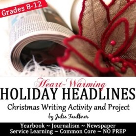 Headline Writing Practice for Yearbook or Journalism, Christmas Activity