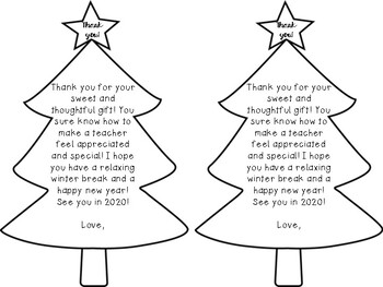 Holiday Thank You Notes/Cards From Teachers to Students