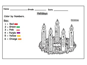Holidays Themed Color by Numbers Worksheets Christmas