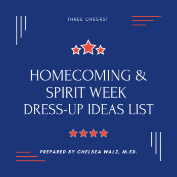 Homecoming/Spirit Week Dress Up Days Idea List by Teacher