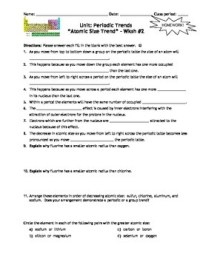 Homework Worksheets: Trends Within the Periodic Table ...