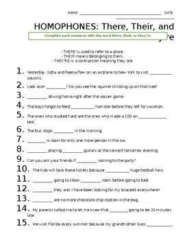 Homophones Their There Amp They Re Worksheet