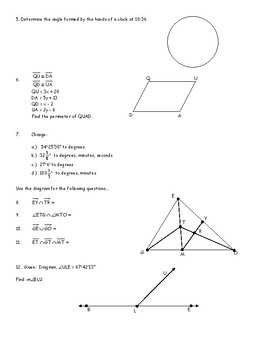 Honors Geometry Chapter 1 Introduction to Geometry (Check