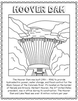 Hoover Dam Informational Text Coloring Page Craft or