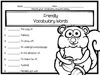 How Chipmunk Got His Stripes Journey's Literacy Centers