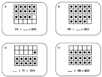 How Many More to 20? Set 1 Ten Frames Task Cards-Missing