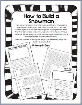 How To Build A Snowman writing template by Primary in