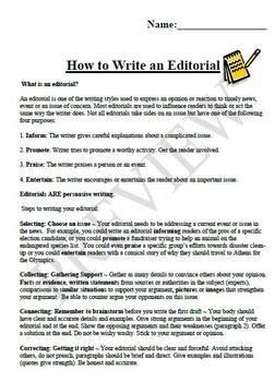 How To Write An Editorial by Kerri Wall  Teachers Pay Teachers