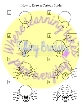 How to Draw a Cartoon Spider Picture Directions; Great for