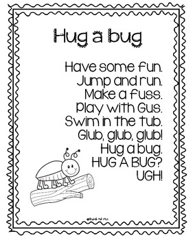 Hug a Bug Poem Freebie by Elizabeth Hall- Kickin' it in