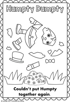 Humpty Dumpty Nursery Rhyme Coloring Pages by Little Hands