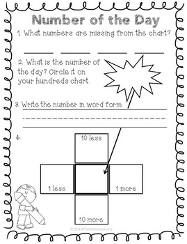 Hundreds Chart Daily Math Center Number of the Day Set by