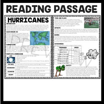 Hurricanes Informational Reading Comprehension Worksheet